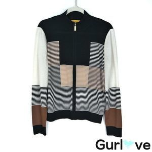 St. John M Wool Color block Striped Knit Full Zip